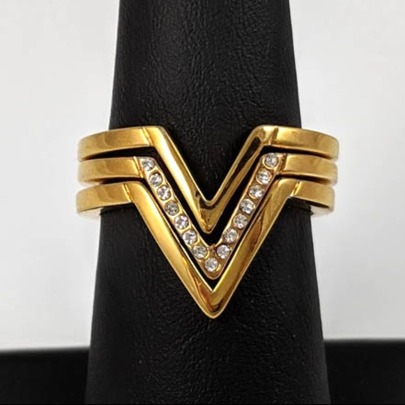 Rebecca Minkoff Jewelry - Rebecca Minkoff Crystal Chevron Rings